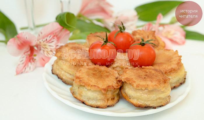 Закуска в вафельных стаканчиках из консервированной рыбы и овощей