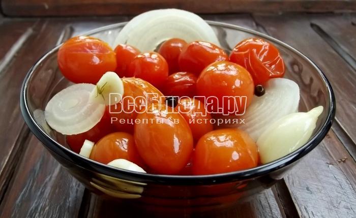 Маринованные помидоры черри, рецепт на скорую руку