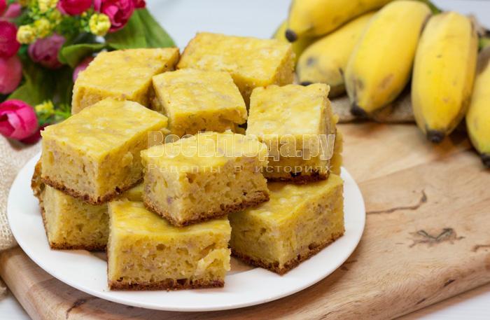 творожный пирог с бананами рецепт с фото