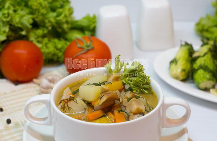 Шампиньоны с картофелем, луком и морковкой, тушеные в кастрюле