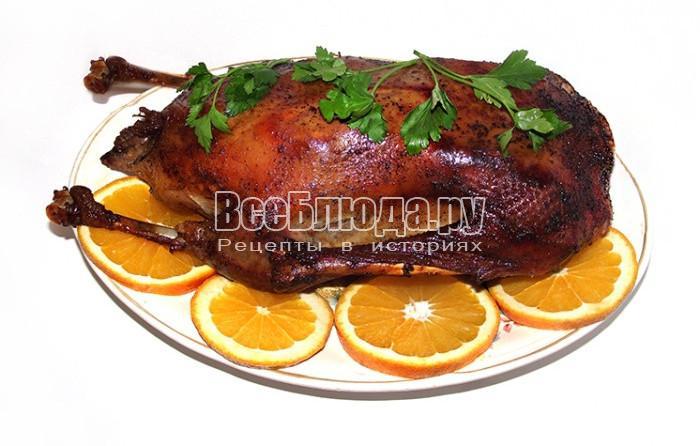 Рецепт гуся запеченного с яблоками, апельсином и лимоном