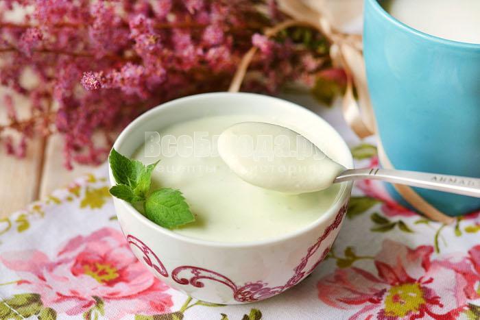 Творог с мятой (мятный творожный десерт из творога и сливок)