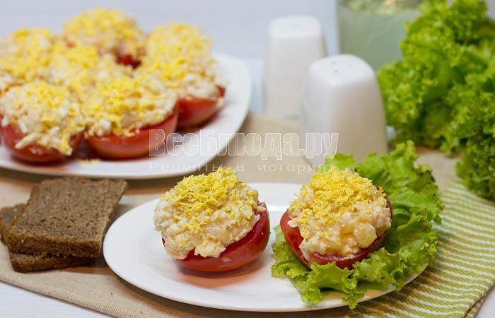 Закуска с икрой минтая в помидорах
