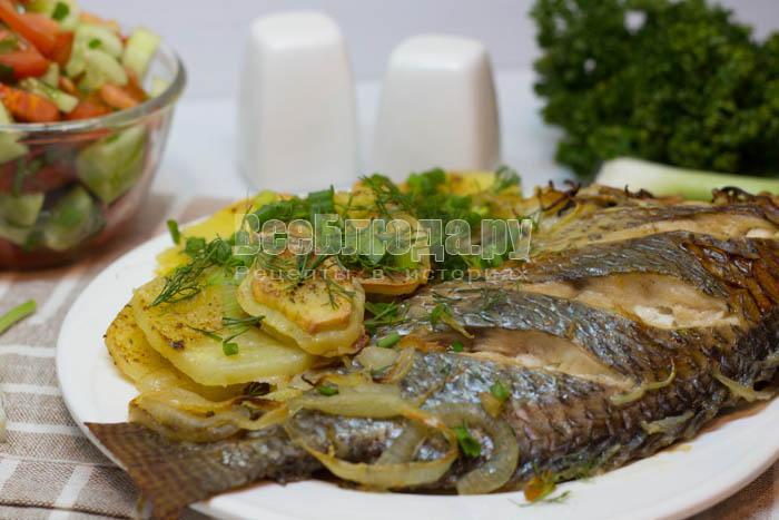 Рыба запеченная с майонезом и горчицей в духовке