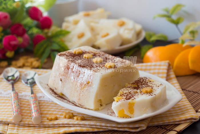 Бисквит в сливочном желе с апельсинами