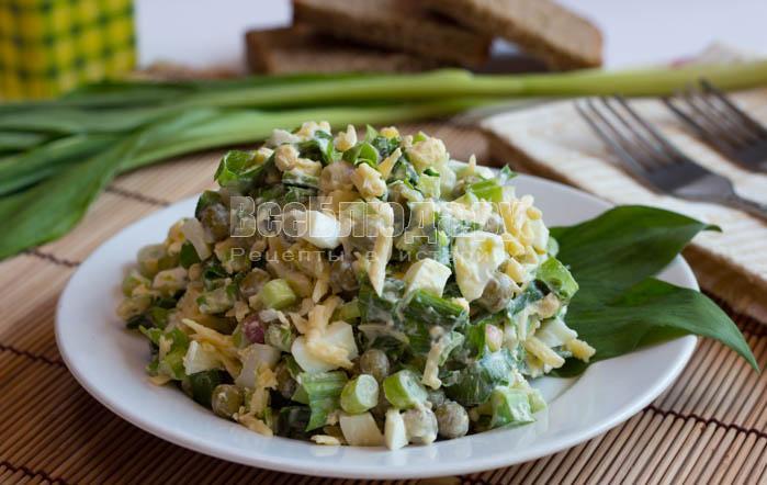 Салат из черемши с зеленым горошком