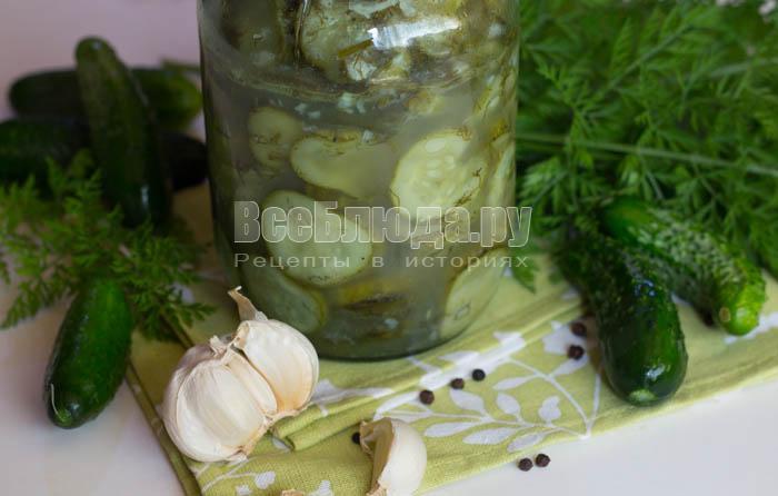 Салат из огурцов с чесноком на зиму (кружочки огурцов)