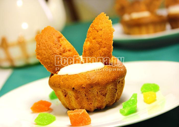 Маленькие кексы со сметанным кремом