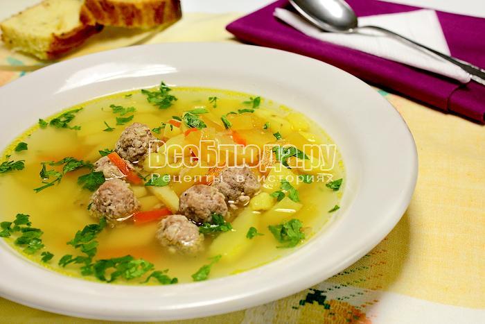 суп с фрикадельками пошаговый рецепт с фото рисом