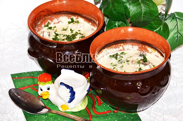 Суп в горшочках с грибами и мясом