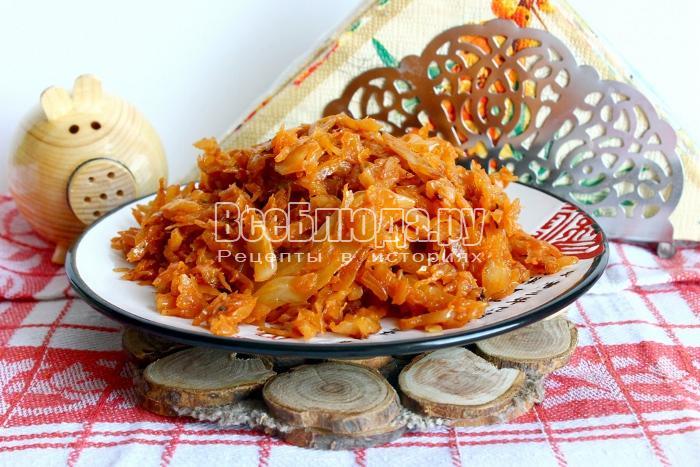 рецепт капусты тушеной с мясом и грибами