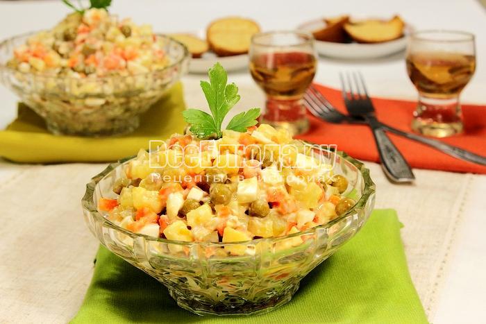 Рецепт салата Оливье с курицей