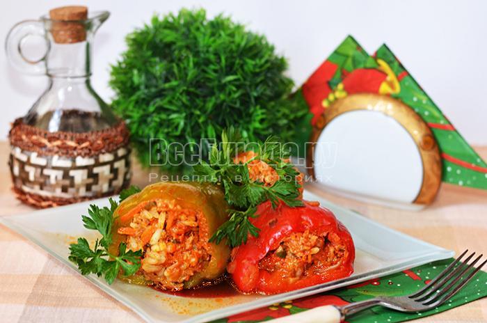 Рецепт фаршированного перца с фаршем и рисом