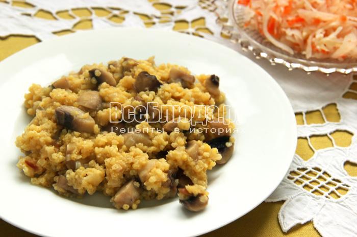 Рецепт пшенной каши с грибами (шампиньонами)