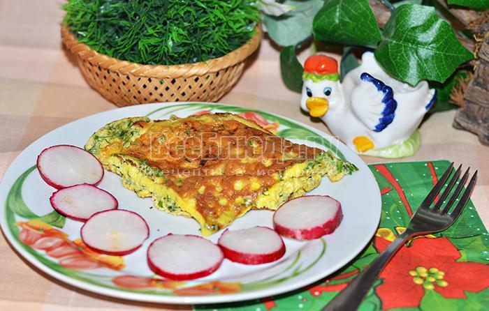 Рецепт омлета на сковороде с укропом