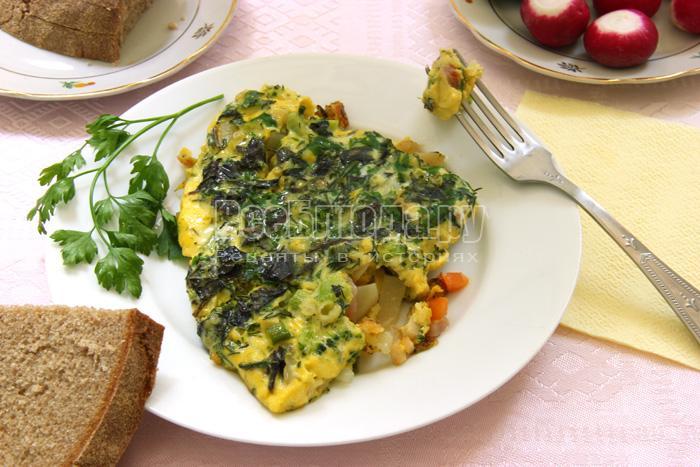 Омлет с овощами и зеленью