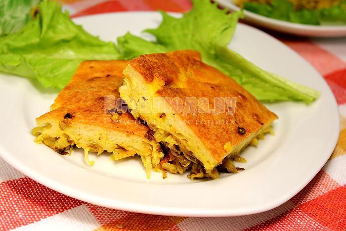 Рецепт пирога с капустой (наливной)