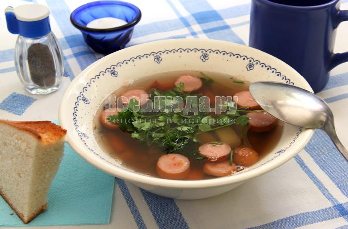 Рецепт чечевичного супа с сосисками