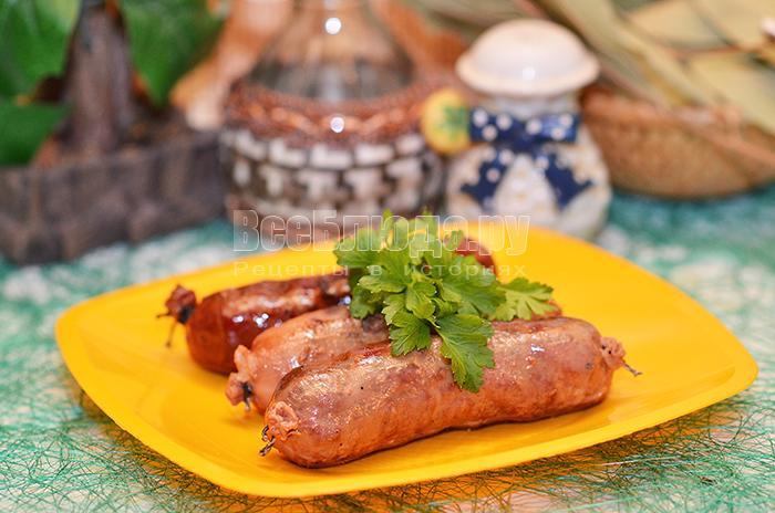 Колбаса из печени с шампиньонами – кулинарный рецепт