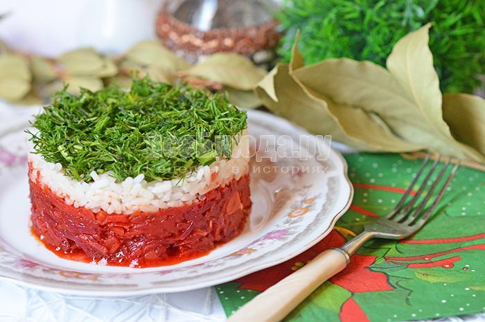 Рецепт горячего салата с рисом и овощами