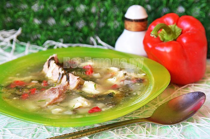 Рецепт зеленого борща с щавелем, перепелиными яйцами и мясом