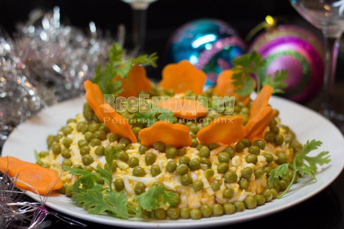 Рецепт новогоднего салата с тунцом и зеленым горошком