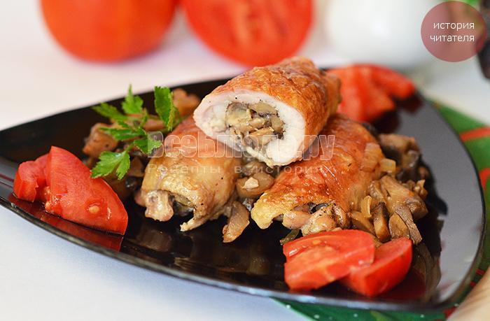 Куриные рулетики с грибами под сыром Виола - новогодняя история