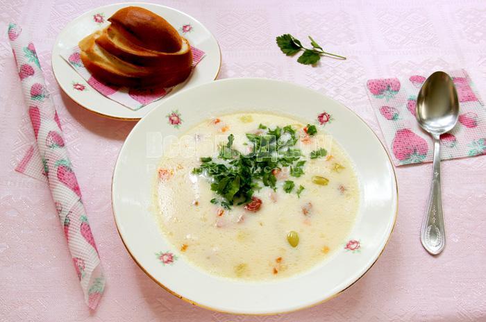 Белый суп с сыром Трижды три - каждого компонента по три вида