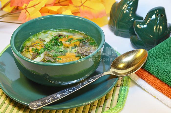 Суп грибной с оленьими рожками
