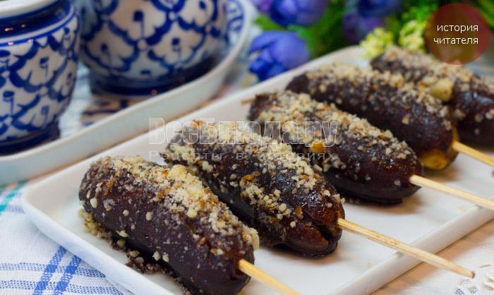 Бананы в шоколаде с орехами