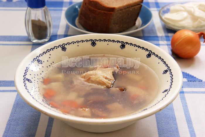 Простой гречневый суп с консервированными грибами