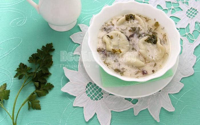 Суп с хинкали на кефире (довга)