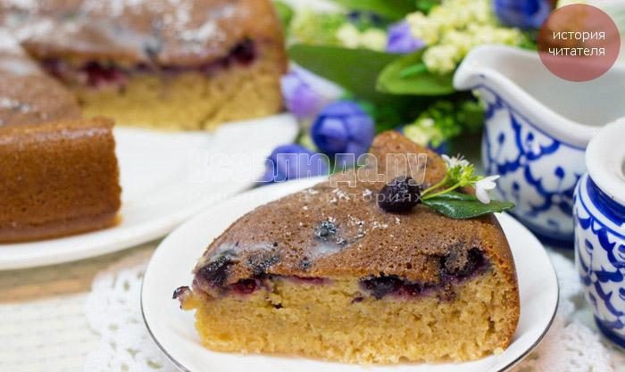 Ягодный пирог на кефире в мультиварке