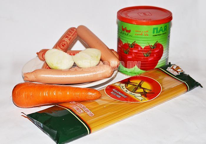 необходимые ингредиенты для сосисок со спагетти: