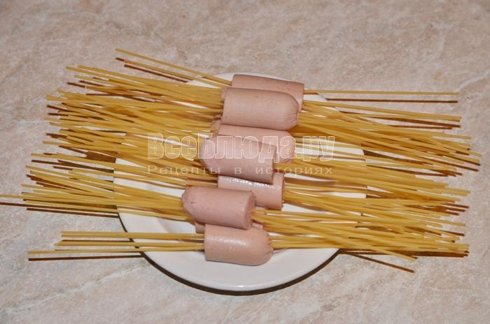Сосиски со спагетти рецепт