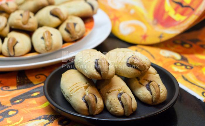 как сделать печенье для детей пальцы ведьмы