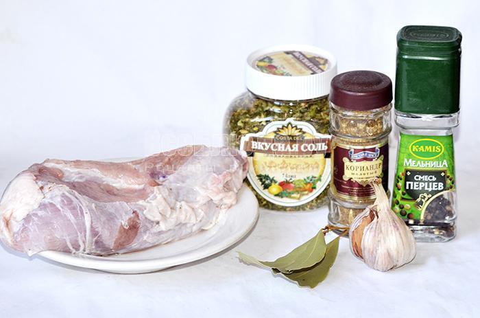 необходимые ингредиенты для свиного рулета: