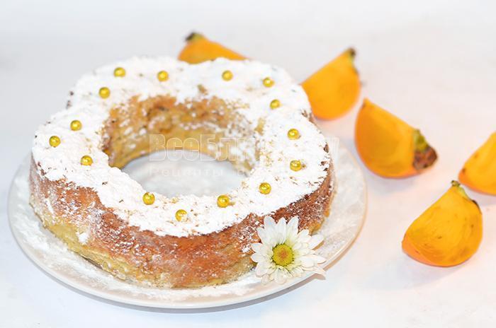 рецепт пирога с хурмой