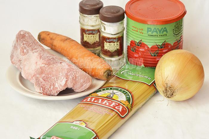 необходимые ингредиенты для свинины с подливкой