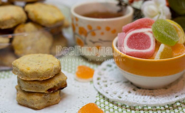 творожное печенье с мармеладом