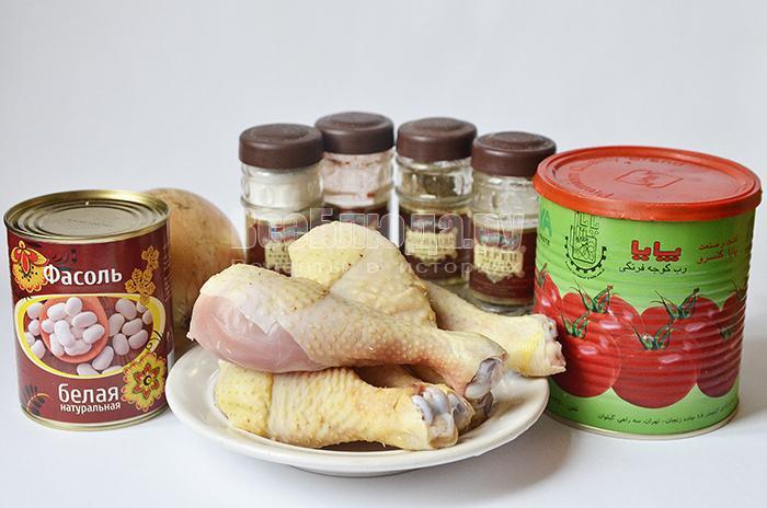 необходимые ингредиенты для голени с фасолью: