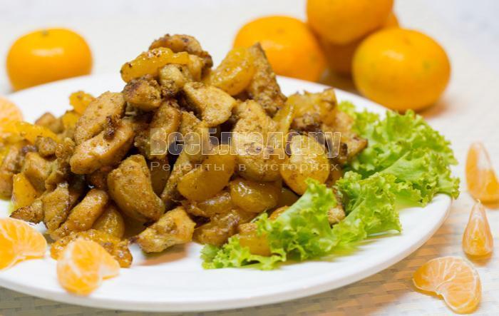 курица в мандаринах