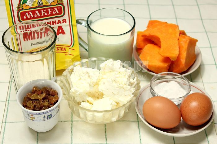 ингредиенты для блинов с творогом и тыквой
