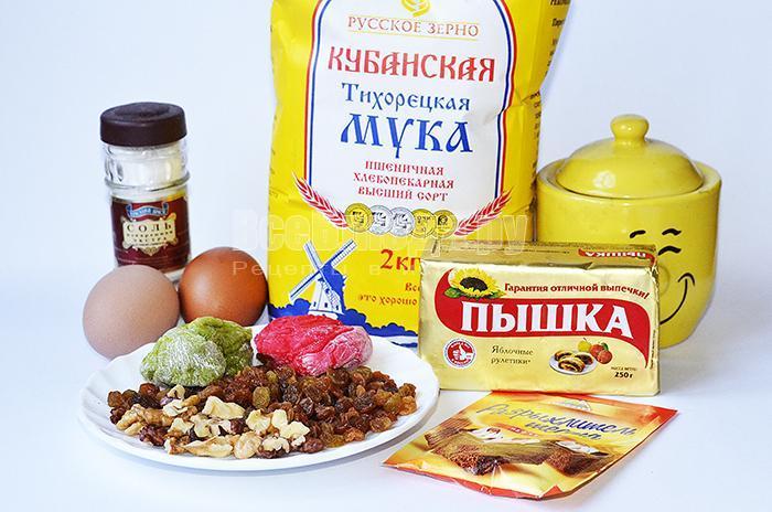 необходимые ингредиенты для кексов с изюмом: