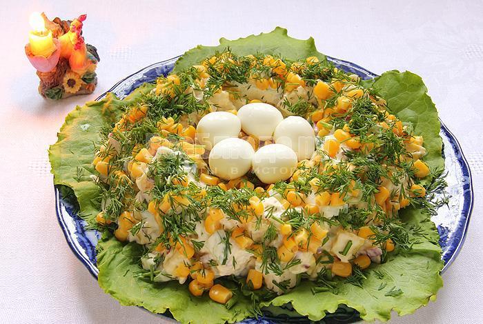 рецепт салат гнездо перепелки