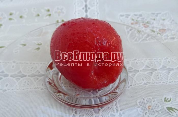 готовый помидор без кожуры