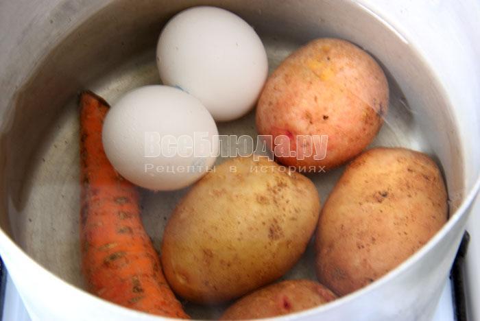 сварить яйца, морковку, картошку