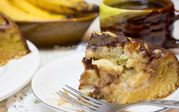 рецепт бисквитного торта с бананами