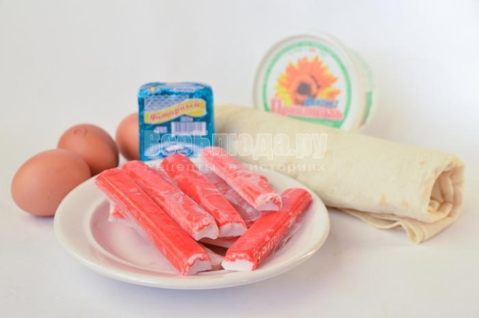 необходимые ингредиенты для рулетов из лаваша: