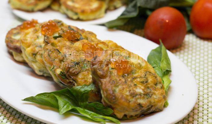 пышные оладушки со шпинатом